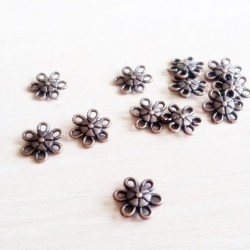 Charm, link floare cupru 9mm (10 buc)