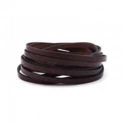Snur piele naturala lata , maro, 5x2,1mm (50cm)