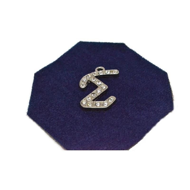 Pandantiv strasuri litera greceasca S ''Sigma'' 30x20mm