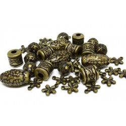 Mix margele gravate, bronz 10mm-25mm (44buc)