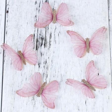 Fluture dublu, organza roz 50x35mm