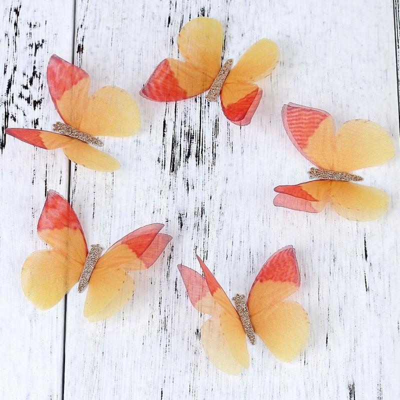 Fluture dublu, organza, portocaliu, galben 50x35 mm