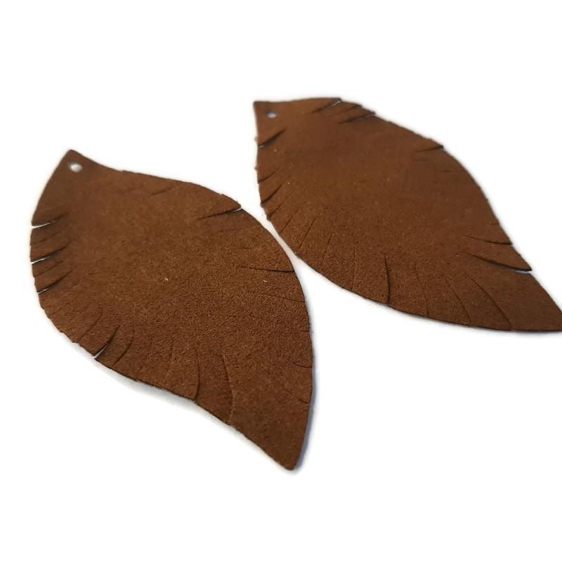Pandantiv frunza maro inchis PU 62x30mm