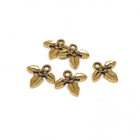 Charm frunze, auriu antichizat 14x14mm