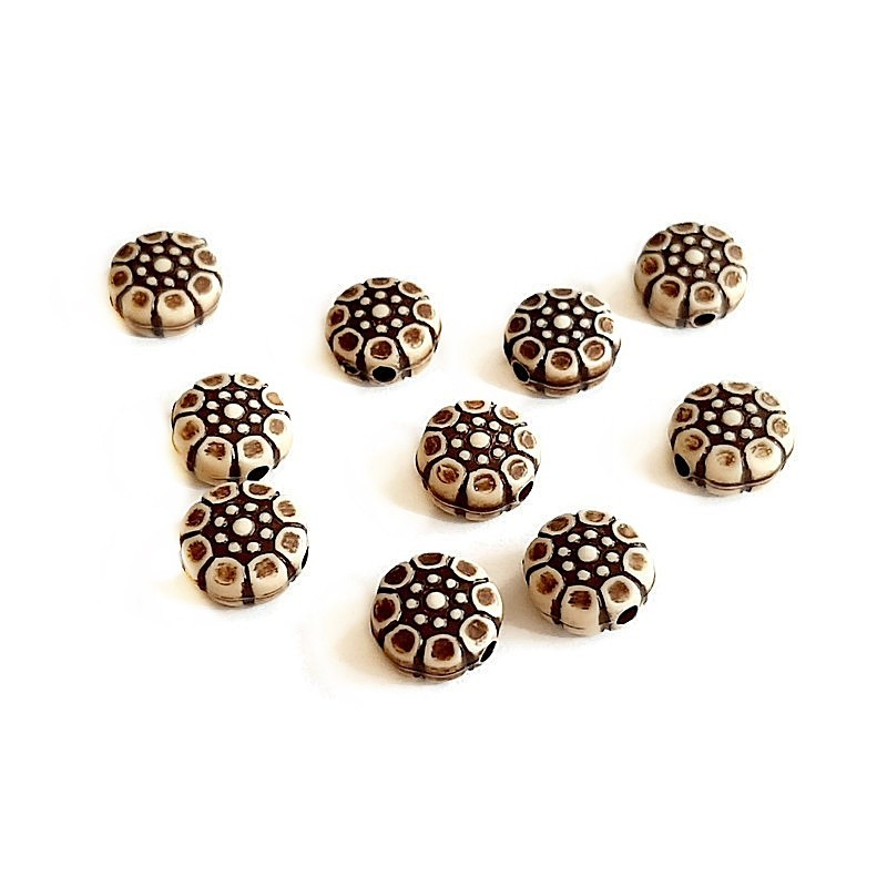 Margele rotunde boho stil antichizat 9x4mm