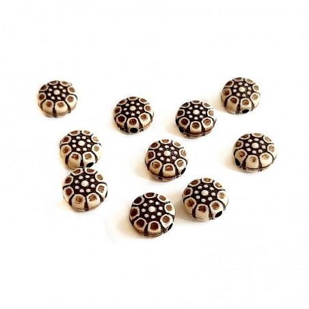 Margele rotunde boho stil antichizat maro 9x4mm