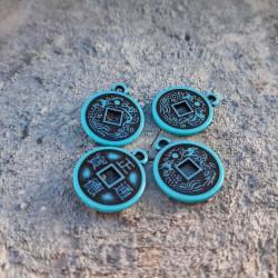 Charm moneda I-Ching , amuleta turcoaz, 18x15mm