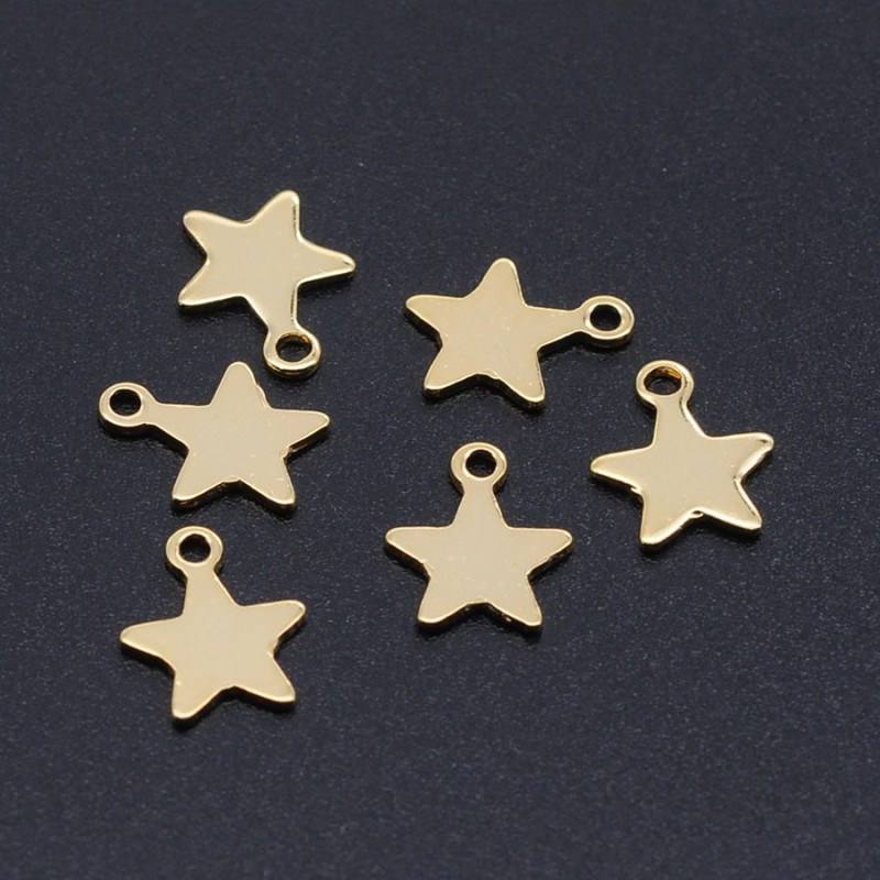 Pandant charm stea otel inoxidabil auriu 10x8,5x1mm