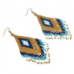 Pandantiv handmade toho auriu - multi blue  66x26x2mm