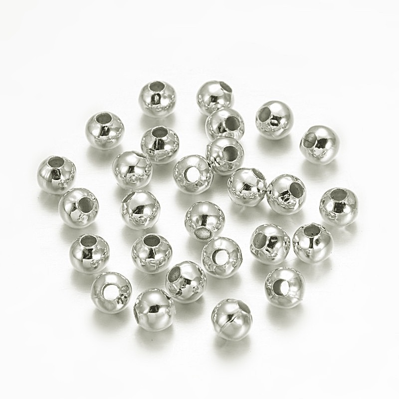 Distantere sfere argintii, 3mm (10 buc)