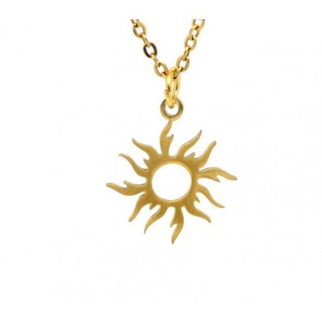 Charm pandantiv inox auriu, soare 17x16mm