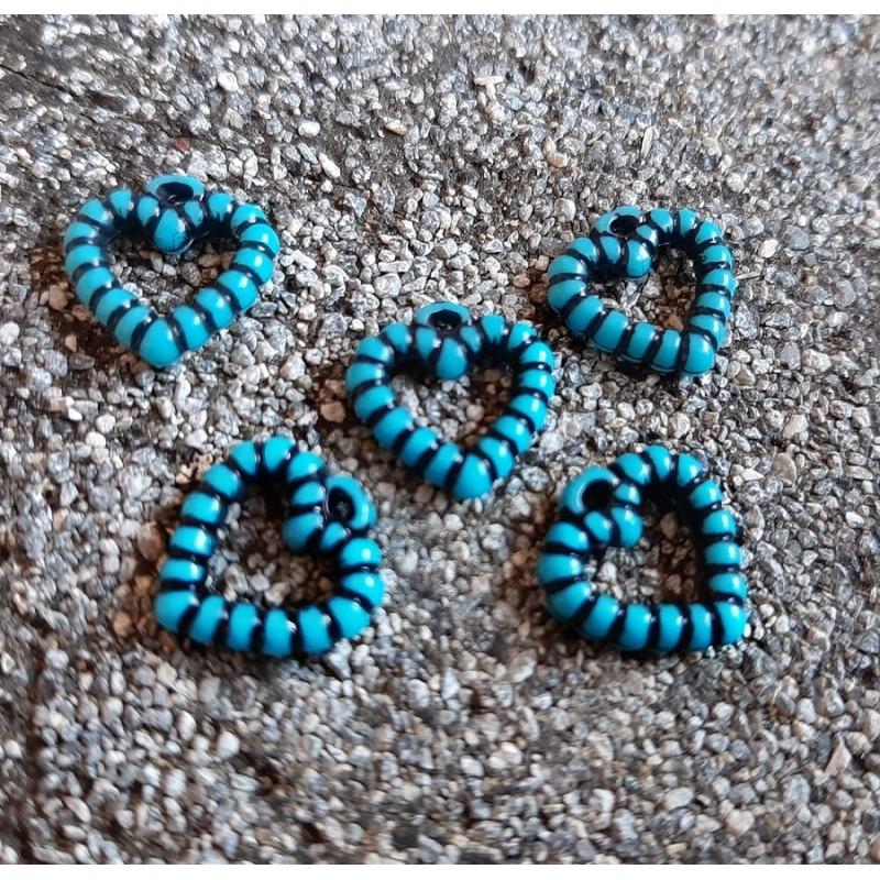 Charm inima, albastru turcoaz  12x10mm