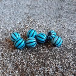 Margele striate albastru turcoaz 9,5mm