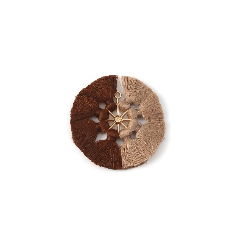 Pandantiv aurit cu ciucuri maro si bej 53x5mm