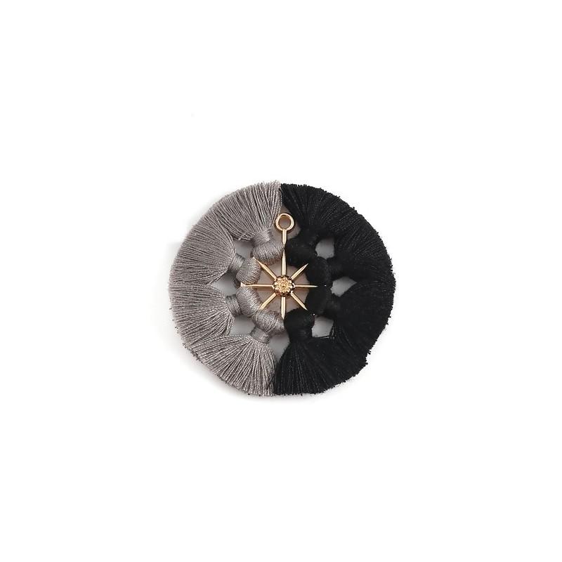 Pandantiv aurit cu ciucuri gri si negri 53x5mm