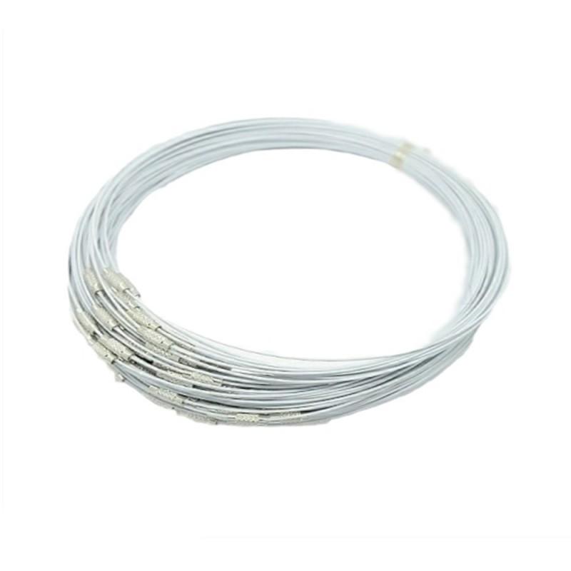 Baza colier ,otel siliconat alb 45cm