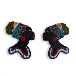 Pandantive pereche, femeie africana 55x50mm (2 bucati)
