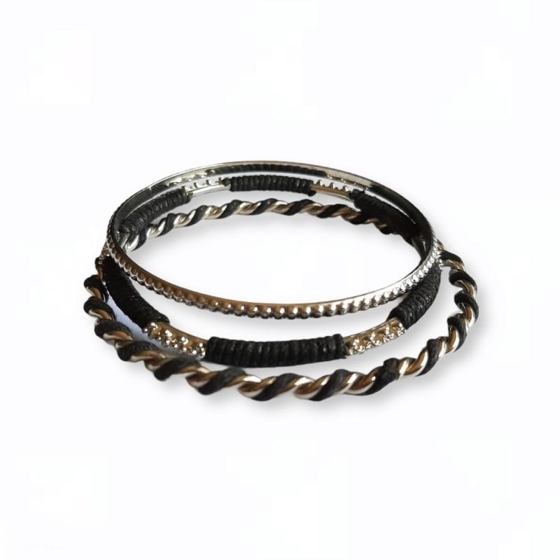 Set 3 bratari metalice cu snur negru